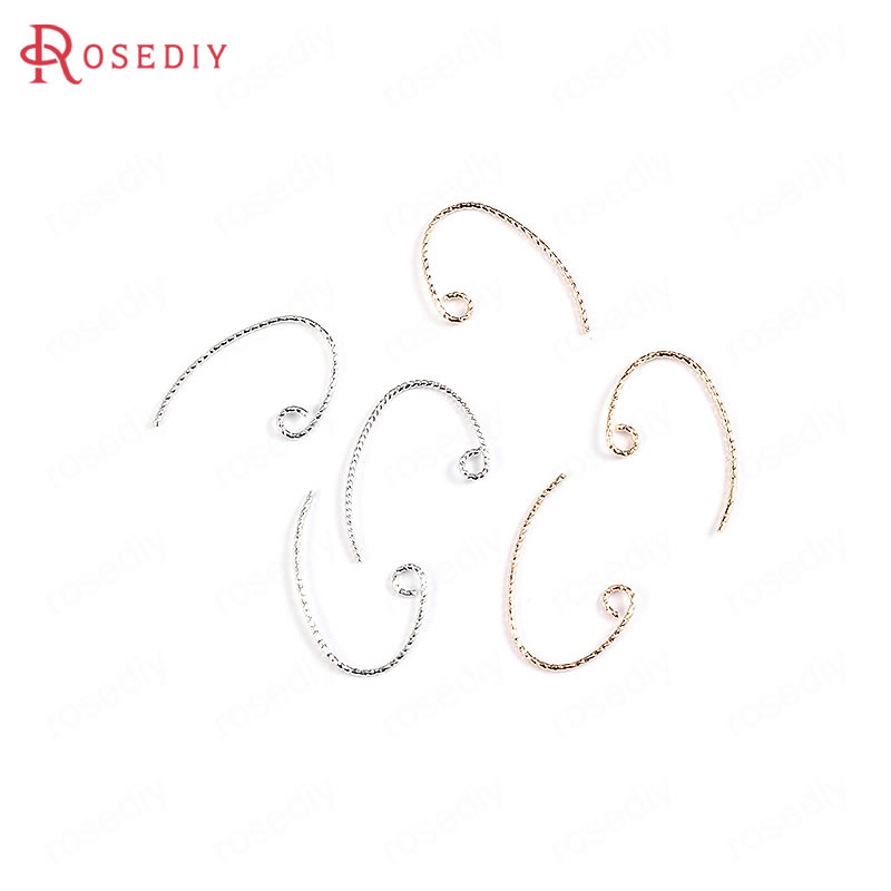 (34036)20PCS Height 20MM 24K Gold Color Plated Brass Earring Hook High Quality Diy Jewelry Findings Accessories