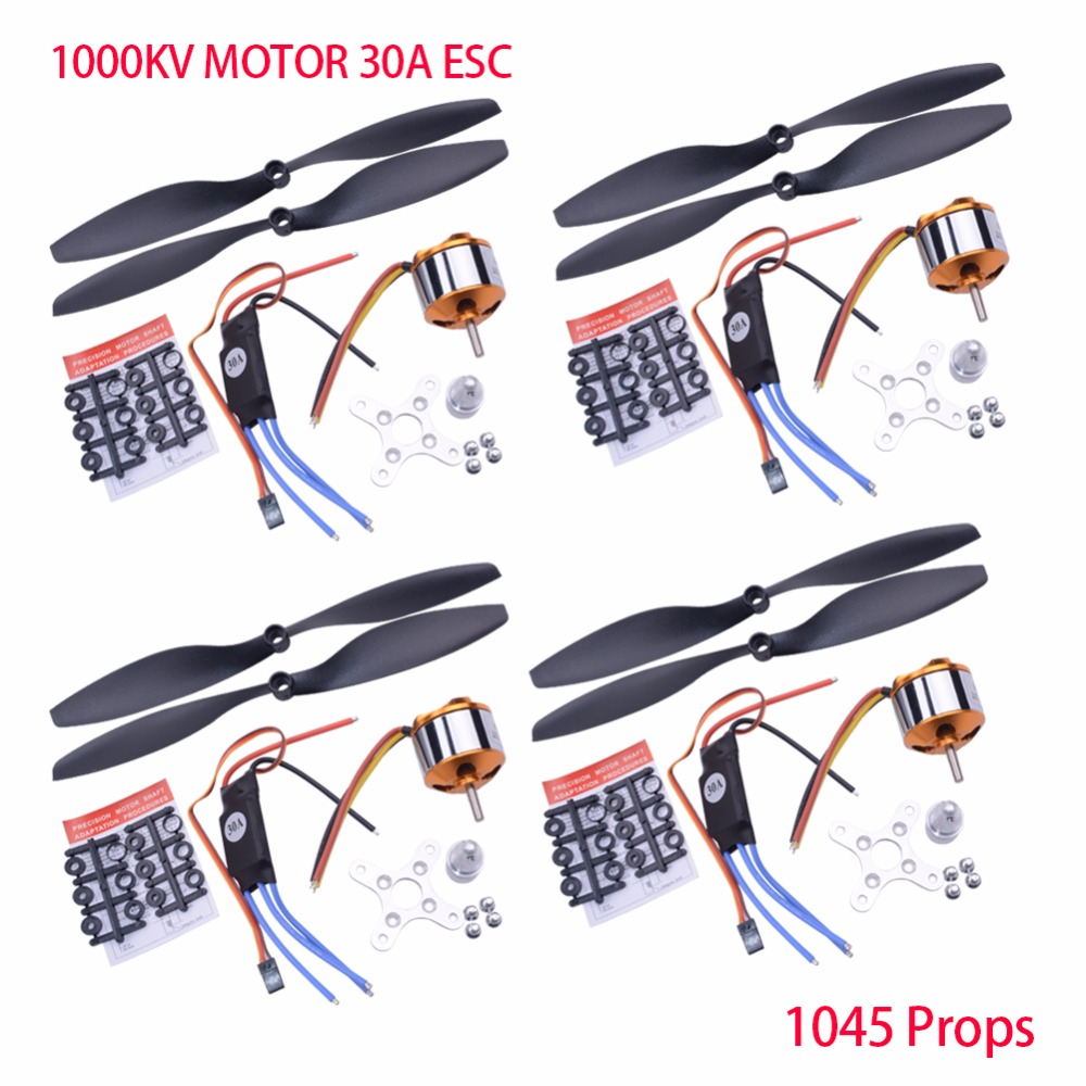4Sets A2212 1000KV 2200 Brushless Outrunner Motor +30A ESC+1045 Propeller(1 pair) Aircraft Parts for RC Aircraft Multicopter