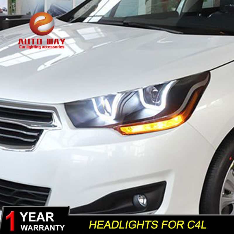 Car Styling Head Lamp case for Citroen C4L 2013 2015 Headlights LED Headlight DRL Lens Double