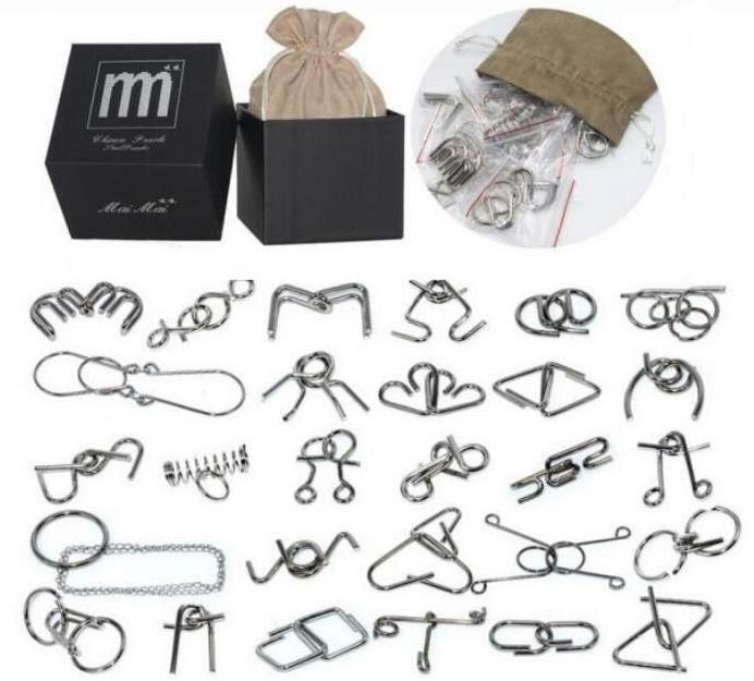 28/32PCS per Set IQ Metal Puzzle Mind Brain Teaser Magic Wire Puzzles Game Toys for Children Adults Kids classic peg solitaire solo noble puzzle iq mind brain teaser puzzles board wooden game toys for adults children