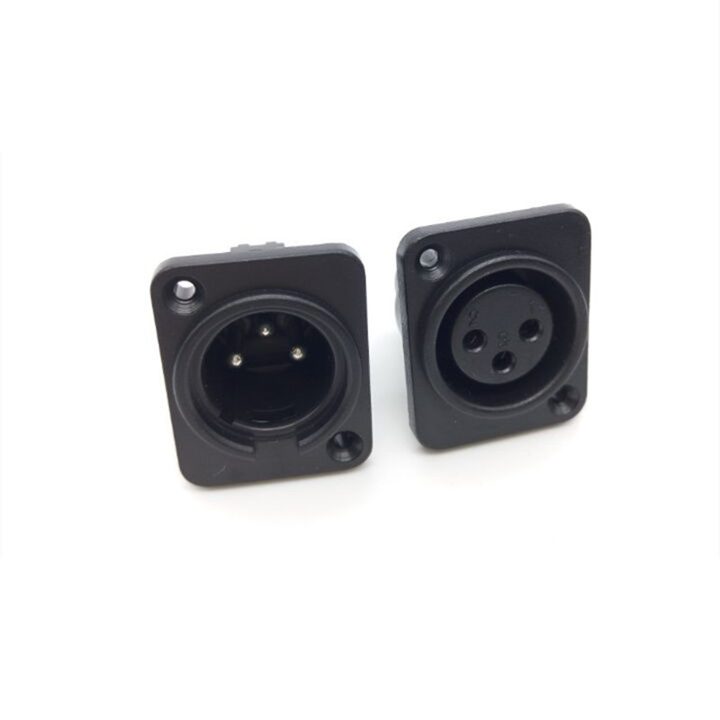 XLR Connector 3PIN Male Fmale Jack Plastic Square Copper Feet Microphone Jack Wire Connector XLR Jack