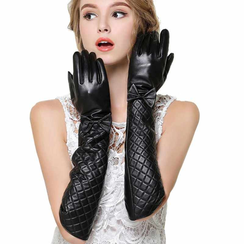 New Winter Long Leather Gloves Women Made Of Italy Genuine Sheepskin Warm Bow Hand Gloves Ladies Fingerless Gloves Deri Eldiven Women S Gloves Aliexpress