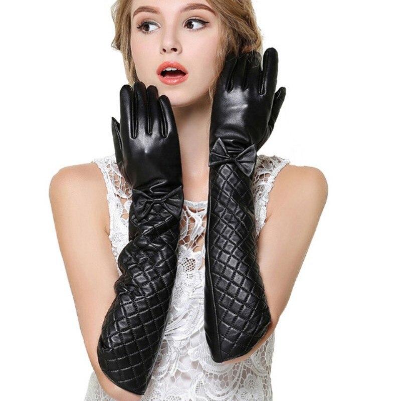 Nouveau hiver Long gants en cuir femmes en italie véritable peau de mouton chaud Bow gants à main dames mitaines gants Deri Eldiven