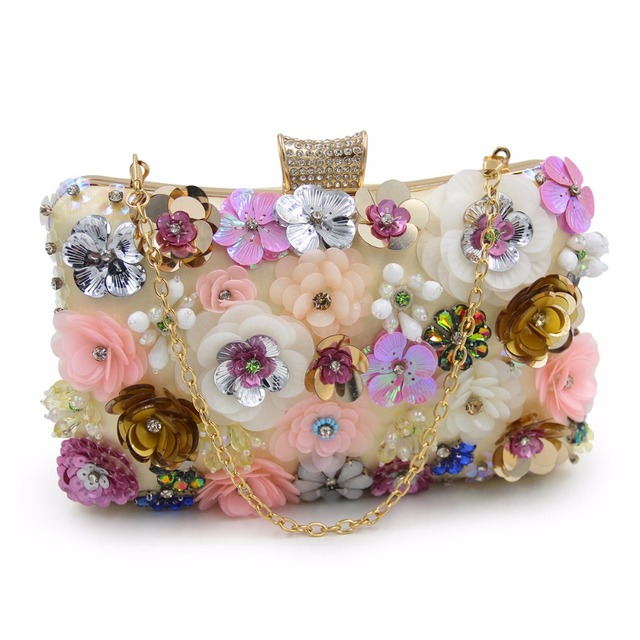 NATASSIE Women Embroidery Flower Evening Bags Female Floral Beaded Clutch Bag Clutches Purses With Chain