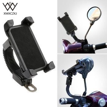 XMXCZKJ Motorcycle Phone Holder 360 Rotate Motorcycle Mobile Phone Mount Holder Handlebar Stand For 3.5-5.5 inch iPhone 8 7 6 6s 1