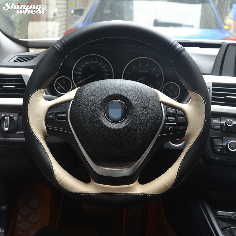 Shining wheat Black Beige Leather Hand-stitched Car Steering Wheel Cover for BMW F30 320i 328i 320d F20 mewant black artificial leather car steering wheel cover for bmw f30 316i 320i 328i