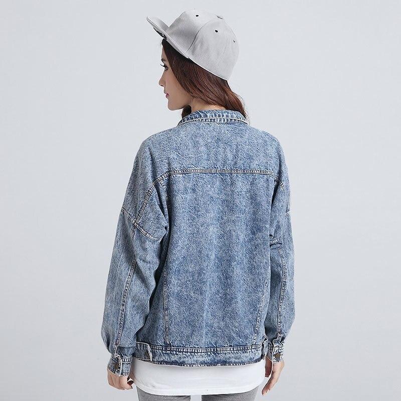 Manteau Pour Femmes Casual Lâche Mode Taille Printemps Vantage Élégante Vestes Bleu Plus 2017 Automne Solide La Denim Jean Veste Cardigan w1qUPR
