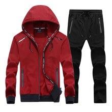 8100e99ee1071a 2018 NOVA Moda Primavera Outono Men Suit Sporting Definir Jaqueta Com Capuz  + Calça Sportswear 2 Peça Conjunto de Treino Para Os..