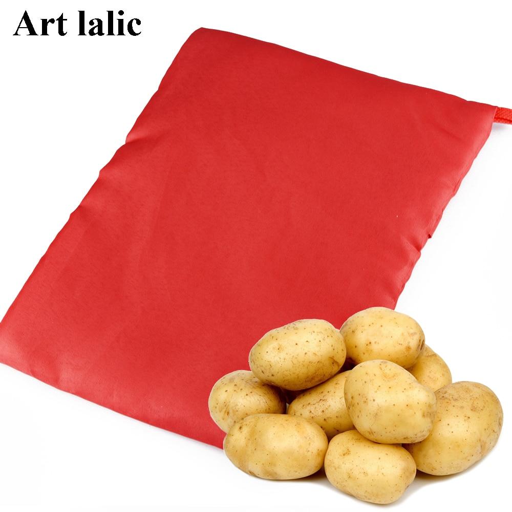 1 stk ny rød vaskbar taske til bagning af bagt kartofler ovn Cooking fordele Hurtig Hurtig kartofler (kokker 4 kartofler ...