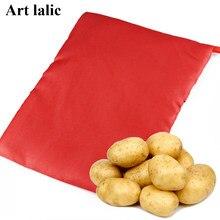 1 pc novo vermelho lavável panela saco de batata cozida microondas cozinhar batata rápida rápida (cozinheiros 4 batatas ao mesmo tempo) g030