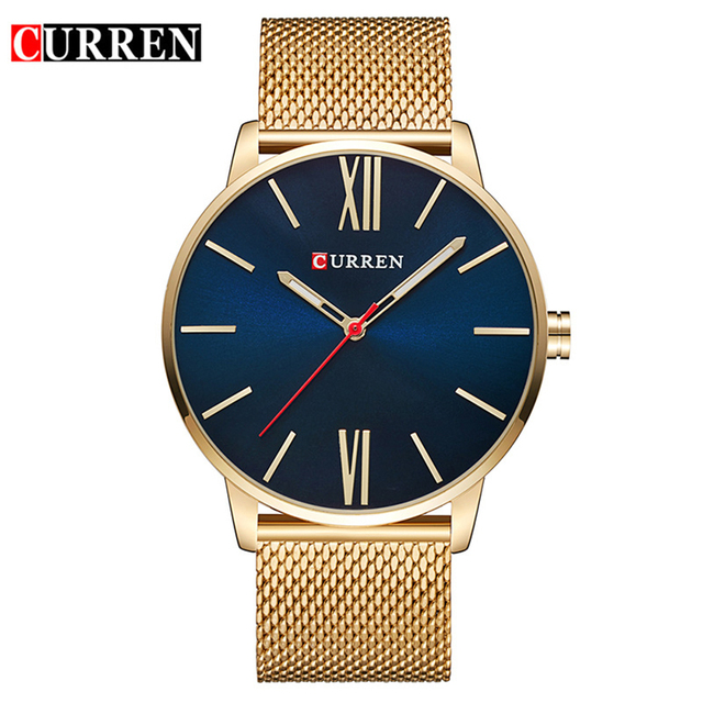 Curren Mens Watches Top Brand Luxury Gold Quartz Men Watch Drop Shipping Mesh Strap Casual Sport Male Relogio Masculino 8238 1