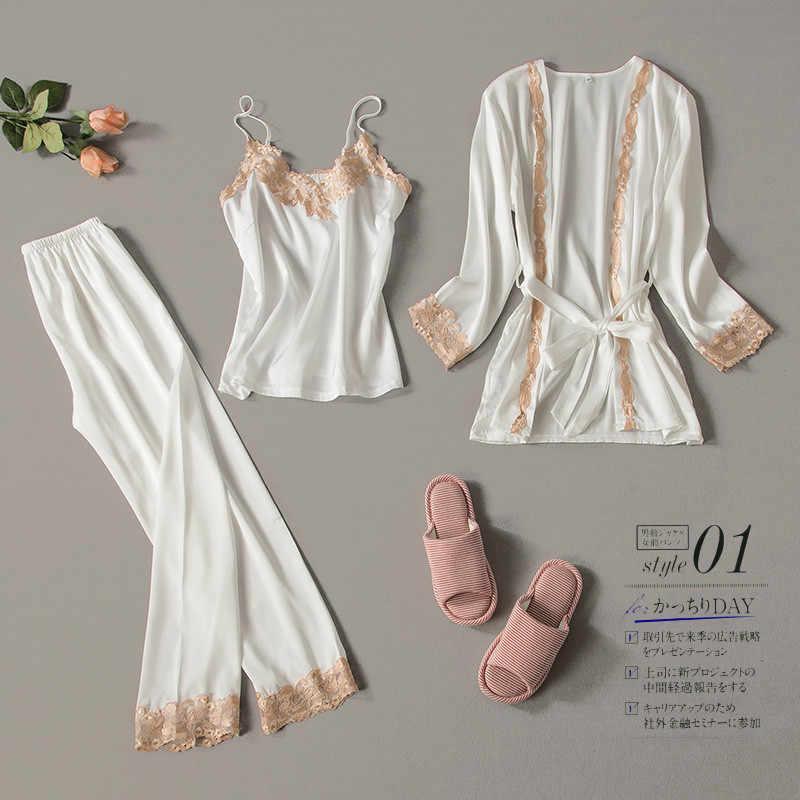 04fbf5f3e2 2019 Three Piece Female Sexy Lace Silk Pajamas Set Robe Sling Pajamas Long  Sleeved Pants Women