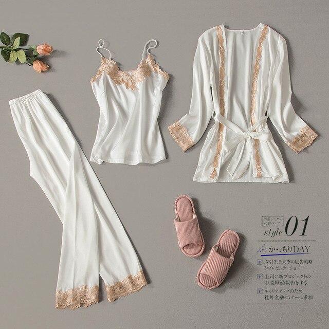 2020 Three Piece Female Sexy Lace Silk Pajamas Set Robe Sling Pajamas Long Sleeved Pants Women Nightgown Wedding Sleepwear