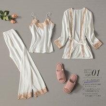 2020 três peças femininas sexy rendas pijamas de seda conjunto robe sling pijamas de manga comprida calças femininas camisola de casamento pijamas