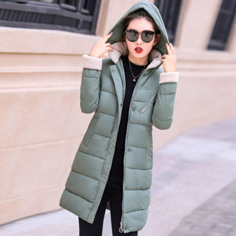 2018 Winter Jacket Women   Parkas   Lamb Fur Collar Warm Cotton Jacket Slim Large Size Hooded Female Outwear   Parka   Long Coats AA487