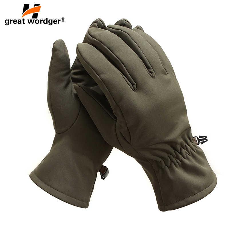 2019 zima armii wojskowe taktyczne rękawice męskie na świeżym powietrzu sport pełna Finger rękawiczki z polar wodoodporna rekina rękawice termiczne