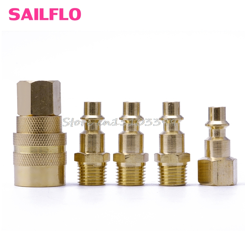 5Pcs Brass Quick Coupler Set Solid Air Hose Connector Fittings 1/4 NPT Tools 12mm hose air compressor quick coupler connector steel self lock sh 40 ph 40
