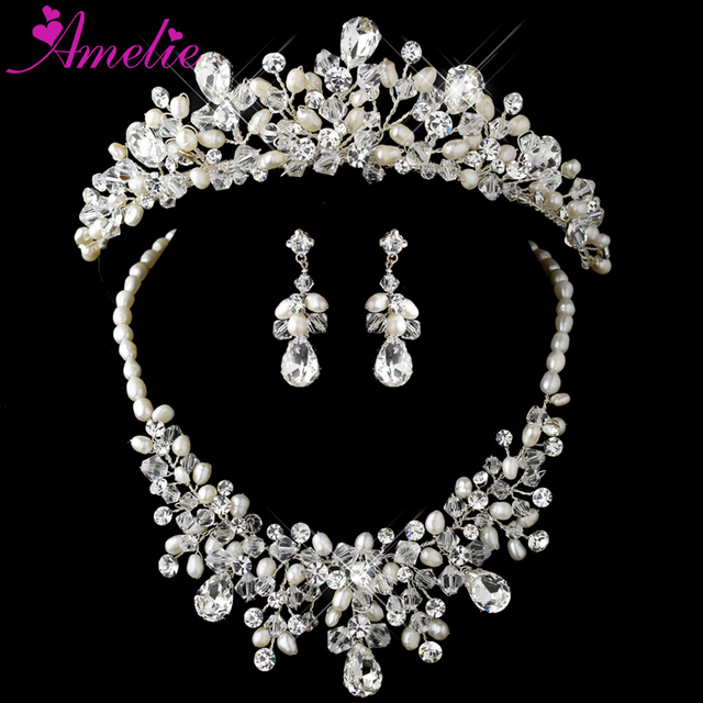 Free Shipping Dramatic Silver Clear Crystal Ivory Pearl Bridal Necklace Earring Set With Matching