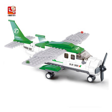 Sluban Building Blocks Assembled Of Small Transport Aircraft Is Compatible With Legoe Minifigure