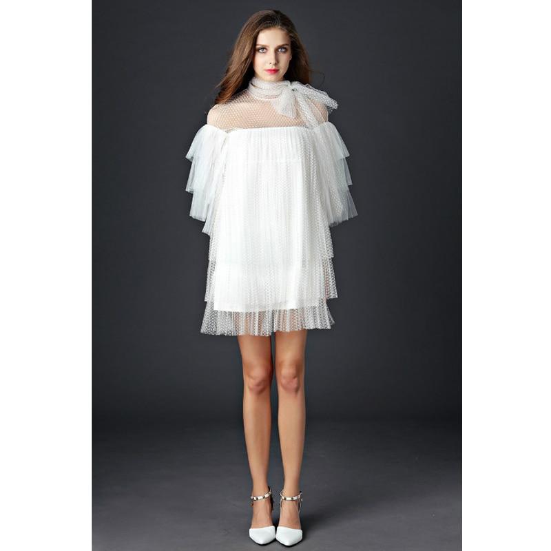 HIGH Quality New Fashion 2019 Runway Dress Women s Flare Sleeve Perspective Cascading Gauze Dress multi