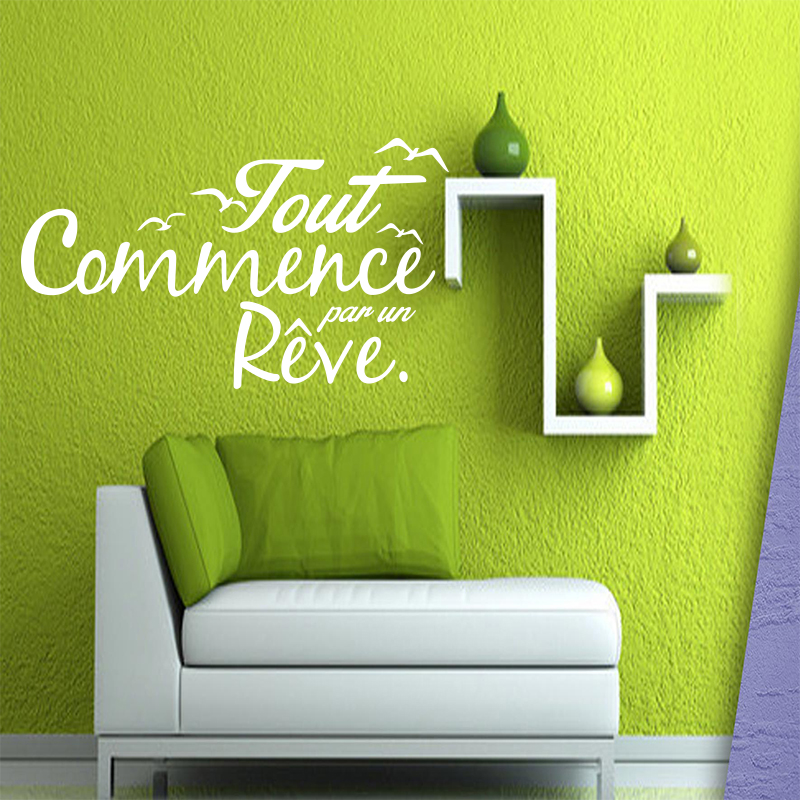 Fototapeta France Quotes Dream Vinyl Nástěnná Nálepka Decal Art - Obrázky zdarma pro Kids Living Room Home Decor House Decor DW1022