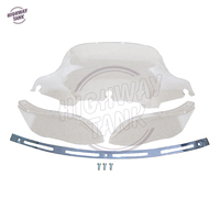 8 Clear Motorcycle Front Windshield Fairing Slotted Stock Batwing Trim Side Air Wing Case For Harley