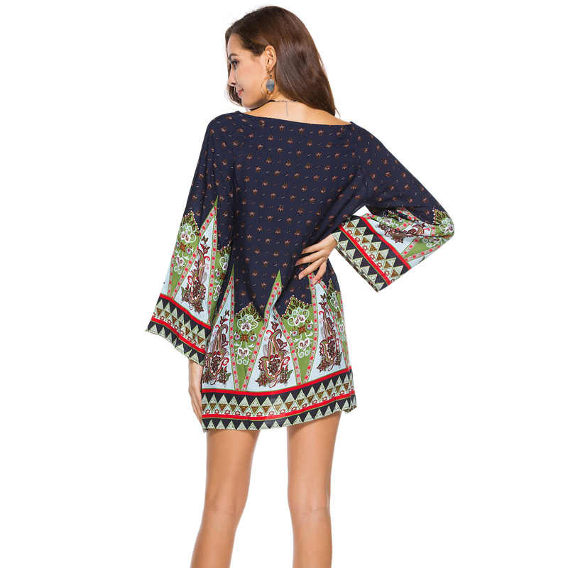 ... Plus size 3XL WOMEN Clothing 2018 summer long sleeve beach mini dress  floral print vintage Straight 526dd135c6f7