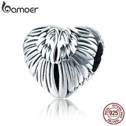 BAMOER 100% 925 Sterling Silver Angel Wings in Heart Shape Charm Beads Fit Women Bracelets Bangles DIY Jewelry Making SCC780