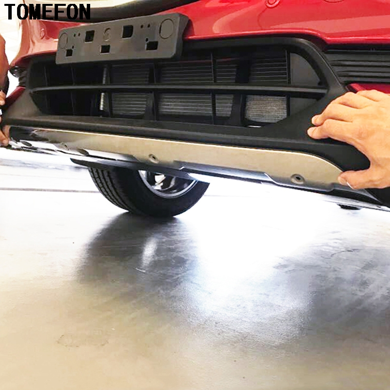 цена на TOMEFON For Mazda CX-5 CX5 2017 2018 Stainless Steel Accessories Exterior Front & Rear Skid Plate Bumper Board Cover Stiker 2Pcs