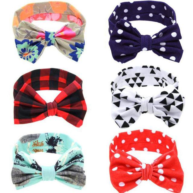 2017 Hot Selling New Fashion Hair Bands Headband Kids Hair Accessories Baby Cute DIY Rabbit Ears Elastic Cloth Bowknot Headband