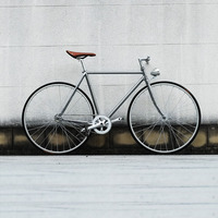 Ретро стальная рама Серебристая 700C фиксированная Шестерня велосипедная дорожка Односкоростной велосипед 52 см Велосипед fixie винтажная Рамк...