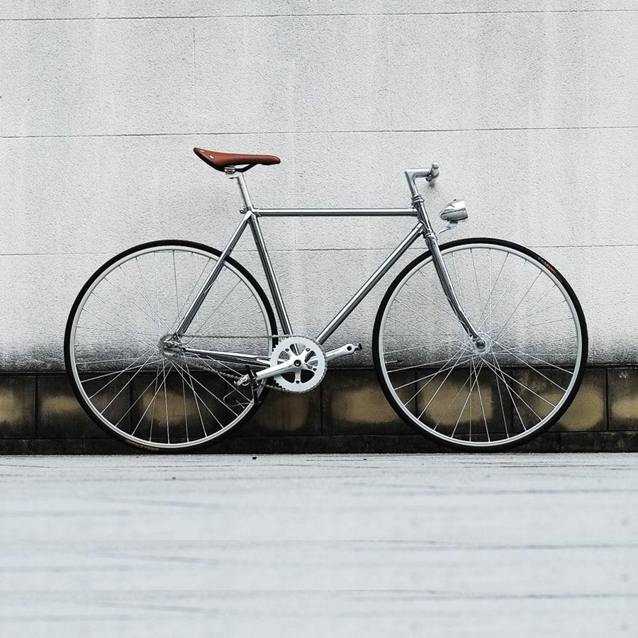 Retro Steel Frame Sliver  700C Fixed Gear Bike Track Single Speed Bike  52cm  Fixie Bike Vintage DIY Frame