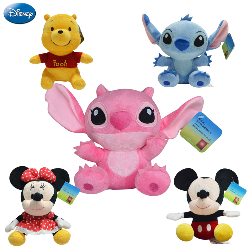 Disney Genuine Lilo And Stitch Winnie The Pooh Mickey Mouse Minnie Plush Toys Doll 17-20cm Stuffed Toys For Birthday Christmas