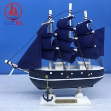 LUCKK 16CM Mediterranean Style Wooden Model Ships Nautical Marine Home Interior Decoration Wood Crafts Room Creative Souvenirs