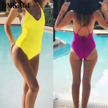 OMKAGI Tek Parça Mayo Mayo Kadınlar Seksi Push Up Yüzme Mayo Beachwear Monokini 2019 Derin V Bodysuit Backless