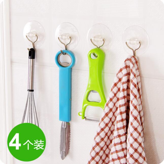 Vacuum <font><b>Suction</b></font> <font><b>Cup</b></font> Hook 8 Pieces/Lot Seamless Stainless <font><b>Steel</b></font> Bathroom Wall Hook <font><b>PVC</b></font> Transparent Kitchen Hanger