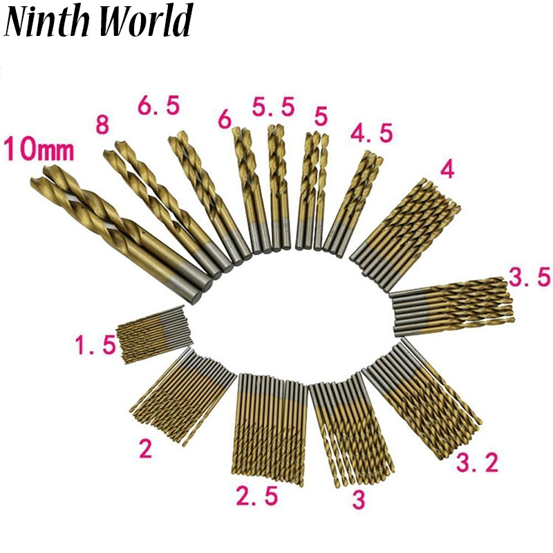 Ninth World 99pcs/set 1.5mm-10mm Manual HSS Twist Drill Bits Set High Speed Steel Titanium  Coated Metal Drilling Bits Tools bismuth 1000g metal ingot high purity 99 99%