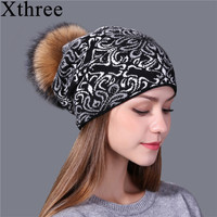 Xthree China Bule And White Style Wool Knitted Winter Hat For Women Beanie Skullies Warm Female