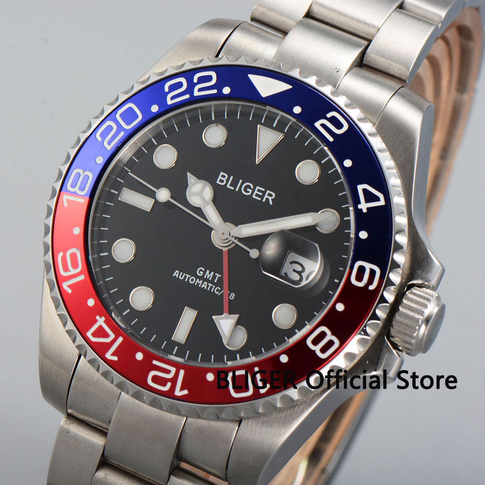 Sapphire Crystal 43MM BLIGER Black Dial Blue Red Rotating Bezel GMT Function Super Luminous Automatic Movement Men's Watch B21|Mechanical Watches|   - title=