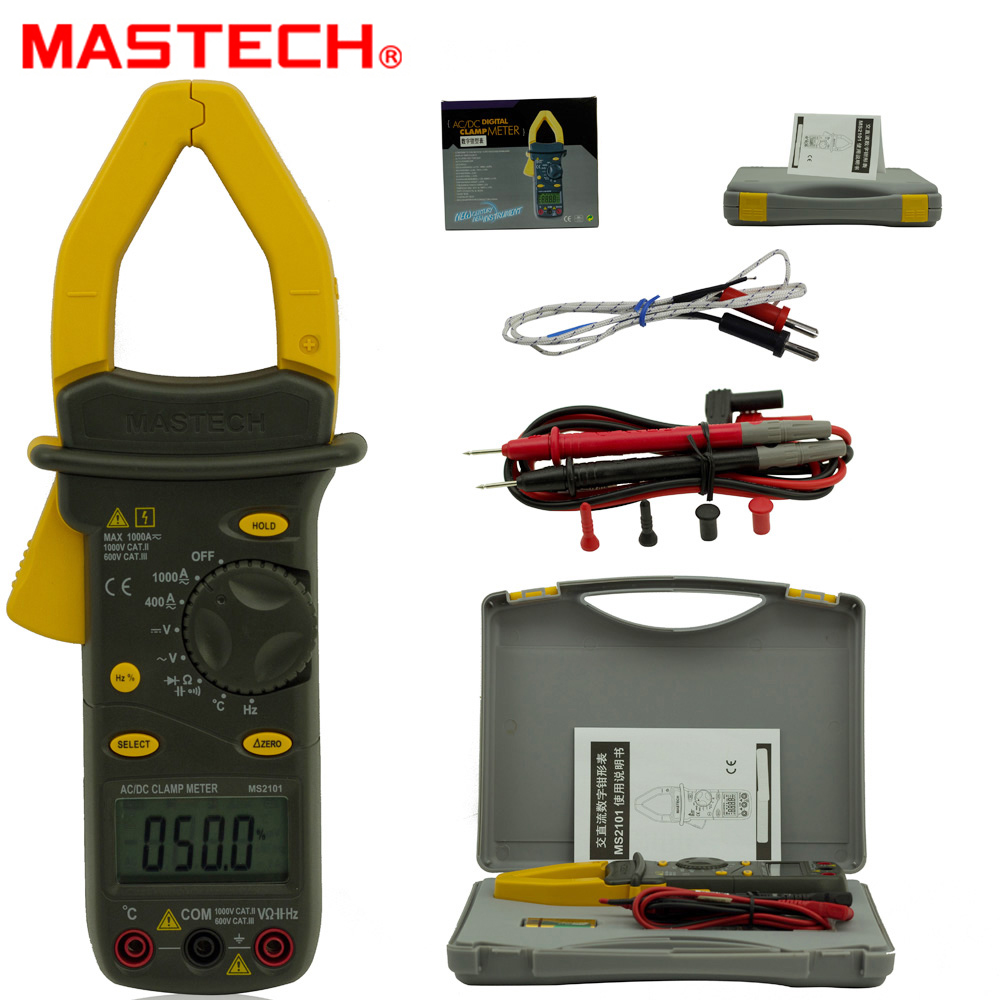 MASTECH MS2101 4000 counts AC/DC 1000A Digital Clamp Meter DMM Hz/C meter measured capacitance frequency temperature backlight mastech ms8260f 4000 counts auto range megohmmeter dmm frequency capacitor w ncv