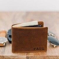 Персонализированные мужской кожаный бумажник с гравировкой двойные бумажники для мужчин, подарок шафера персонализированный кожаный бума...