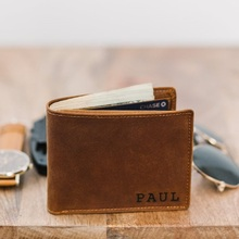Personalized Mens Wallet Leather Engraved Bifold Wallets for Man, Groomsman