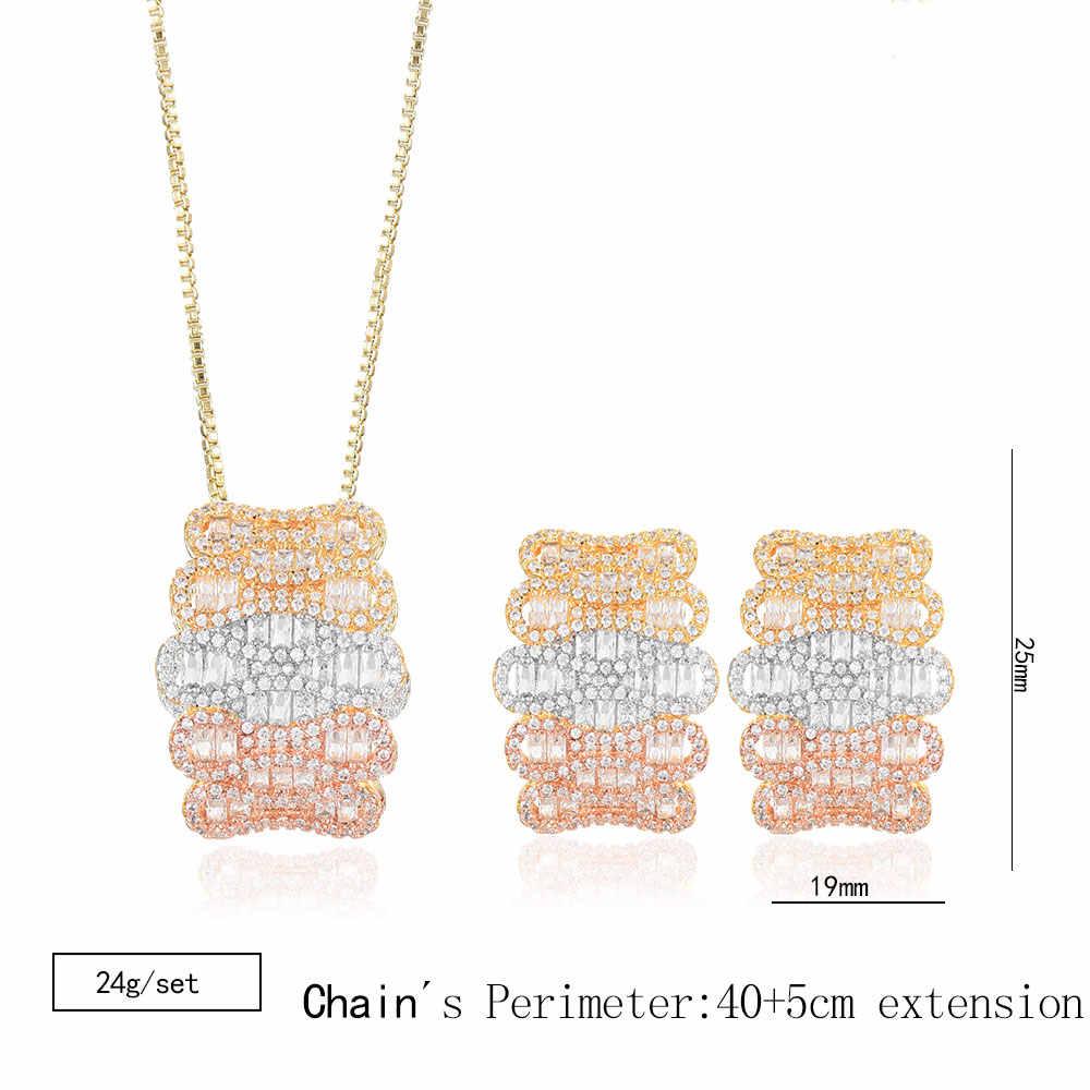 GODKI Luxus Welle Geometrie Cubic Zirkon Nigerian Halskette Ohrring Schmuck-Set Für Frauen Hochzeit Indischen Dubai Braut Schmuck Set