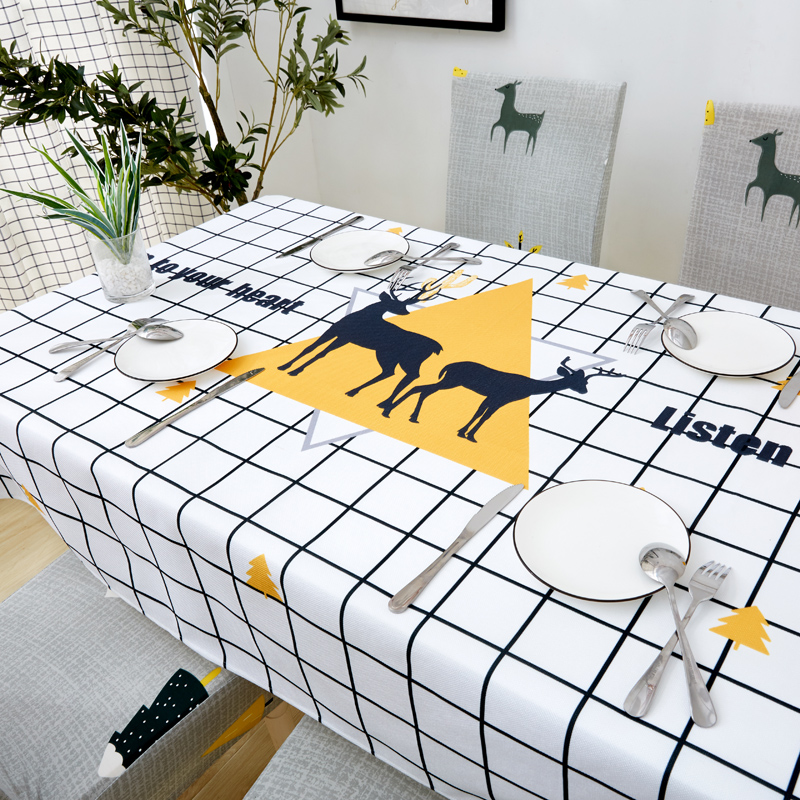 Image 4 - Parkshin Modern Cartoon Deer Tablecloth Home Kitchen Rectangle Decorative Table Cloths Party Banquet Dining Table Cover 4 Size-in Tablecloths from Home & Garden