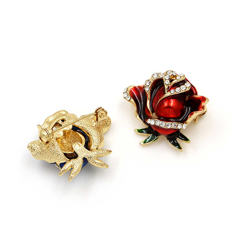 Merah Biru Enamel Rose Pin Bros Berlian Imitasi Bunga Bros Wanita Pernikahan Buket Pengantin Pakaian DIY Perhiasan Aksesoris