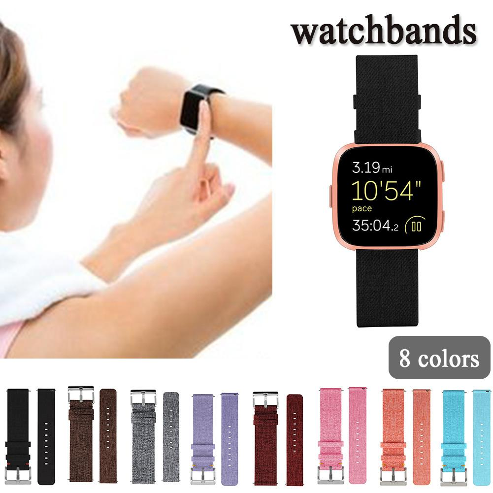 New Canvas Replacement Strap For Fitbit Versa Watch Band Wirst Strap With Buckle Connect ...