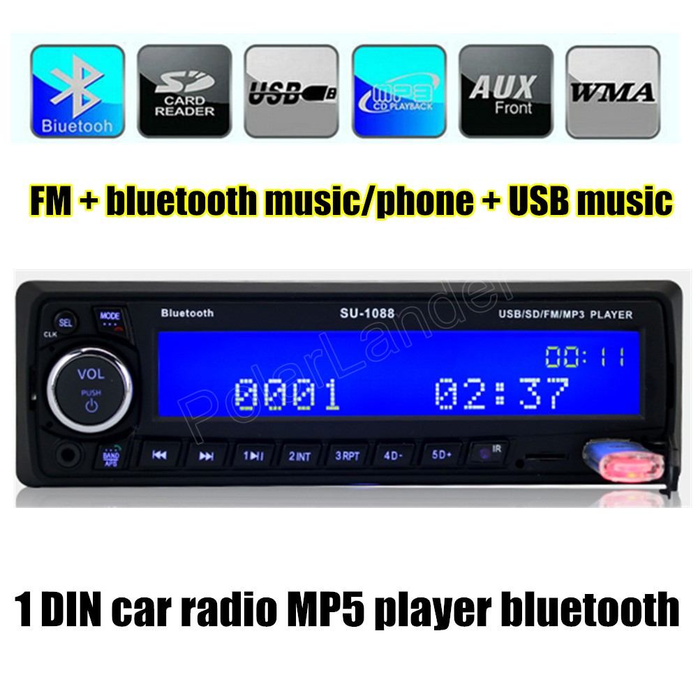 free shipping 1 din Car radio Stereo Audio MP3 Player FM Aux Input SD USB Music MP3 Radio Player bluetooth handsfree auto