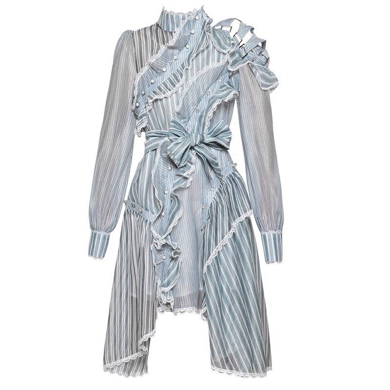 Robe de piste 2018 été femmes à manches longues rayure asymétrique volants dentelle ceintures robe