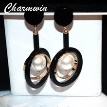 Charmwin Exaggerated Long Statement Earrings Dangle New Fashion Big Circle Simulated Pearl Earring Women PLE1249