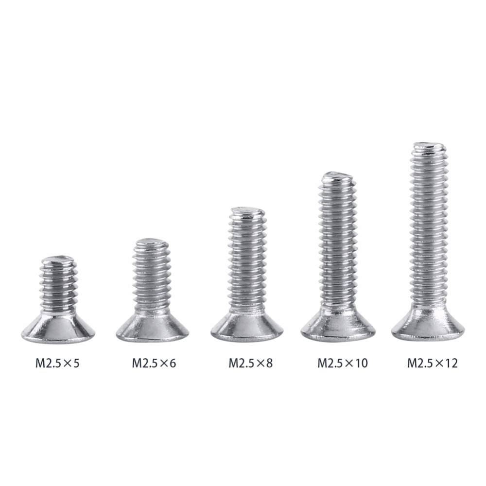 50Pcs/set M2.5 Stainless Steel 304 Star Flat Head Machine Screws 5 6 8 10 12mm Fastener Hardware Assortment Kit niko 50pcs chrome single coil pickup screws